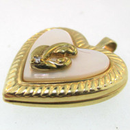 10k YELLOW GOLD HEART MOP PENDANT MOTHER & CHILD LOCKET SMALL DIAMOND CHIP