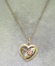 1/20 14k Yellow Gold Filled Necklace & 10k Black Hills Gold CCO Open Heart Rose Pendant