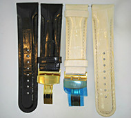 Two Techno Master Watch Bands Black and White Genuine Leather with Gold Tone Clasps (300.3901 CB)