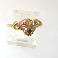 10k Black Hills Gold Ring Rose Gold & Green Leaves Small Garnet Stone Size 5.75