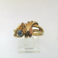 Black Hills Gold CCO 10k Yellow Gold Blue Topaz Solitaire & Leaf Ring size 7