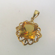 10k Yellow Gold Princess Cut Citrine Pendant