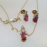 10k Yellow Gold Ruby and Diamond Necklace and Pendant with Matching Earrings