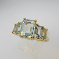 10k Yellow Gold Aquamarine Ring Size 9 1/2