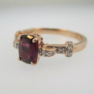 10k Rose Gold Garnet with Pink Tourmaline and Diamond Accents Ring Size 7