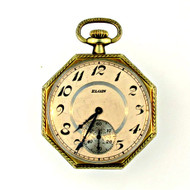 Antique 1926 Elgin National Watch Co. 7j 12s Gold Tone Metal Pocket Watch (3004026CB)