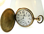 Antique 1914 Hampden Watch Co. Wm. Mckinley 17j 16s Gold Filled Pocket Watch (3004038CB)
