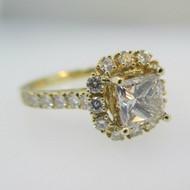 14k Yellow Gold 1.01ct Princess Cut Diamond Halo Ring Size 7