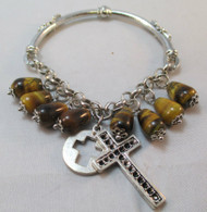 Silver Tone Bracelet with Glass Beads and Cross*