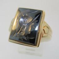 10k Yellow Gold Hematite Intaglio Soldier Ring Size 10 1/2