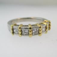 14k White Gold Approx .50ct TW Princess Cut Diamond Band Size 6 1/2