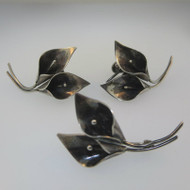 Sterling Silver NYE Calla Lilies Screwback Earrings and Pin Set *