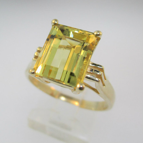 14k yellow gold citrine emerald cut ring size 9