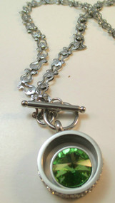 316 L Stainless Steel Chain with Green Stone Pendant*