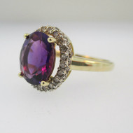 14k Yellow Gold Amethyst Ring with Diamond Halo Accents Size 7