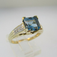 14k Yellow Gold Blue Topaz with Diamond Accents Size 7