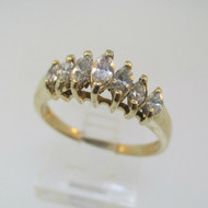 14k Yellow Gold Approx .50ct TW Marquise Diamond Ring Size 7