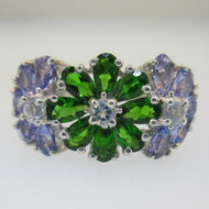 Sterling Silver Tanzanite and Chrome Diopside  Flower Ring Size 9*
