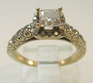 14k Gold Ring .53 ct Tolkowsky Ideal Cut Princess- Size 4 1/2*