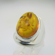 Sterling Silver Amber Wide Band Ring Size 5.25*