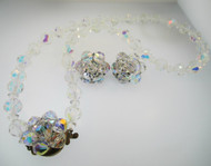 Vintage Aurora Borealis Necklace and Clip On Earrings Set
