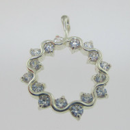 Sterling Silver CZ Circular Wreath Pendant*
