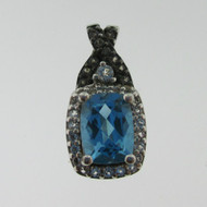 Sterling Silver Blue Topaz Checkerboard Cut and CZ Pendant*