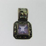 Sterling Silver Amethyst and Marcasite Square Pendant*