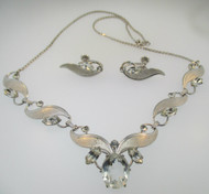 Sterling Silver and Rhinestones Van Dell Necklace and Screwback Earring Set*