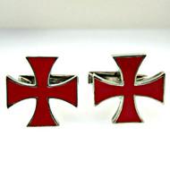Red Sterling Silver Cross Cufflinks (300.1768R CB)