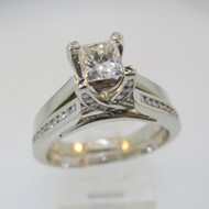14k White Gold Approx .70ct Princess Cut Diamond Ring with Wedding Band Size 8 1/2