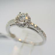 14k White Gold Approx .28ct Round Brilliant Cut Diamond Halo Ring Size 6 3/4