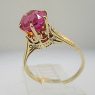 Vintage 10k Yellow Gold Created Ruby with Crown Style Mount Size 5 1/2