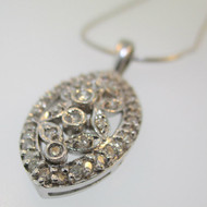 14k White Gold Approx .50ct TW Diamond Pendant and Necklace