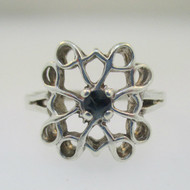 Sterling Silver Sapphire Round Cut Ring Size 6.5