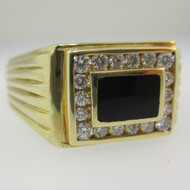 14k Yellow Gold Black Onyx and Diamond Ring Size 14 1/2