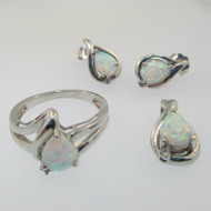 Sterling Silver Created Opal Pendant Earring Ring Set Size 6.75