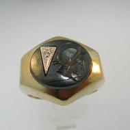 10k Yellow Gold Hematite Intaglio and Diamond Ring Size 9 1/4