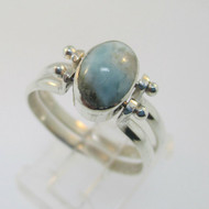 Sterling Silver Amber and Larimar Flip Ring Size 8.25