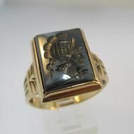 10k Yellow Gold Hematite Intaglio Ring Size 12 1/2