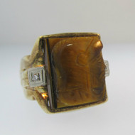 10k Yellow Gold Tigers Eye Intaglio Ring Size 9