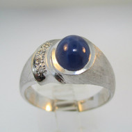 10k White Gold Blue Star Sapphire Ring with 2 Single Cut Diamond Accents Size 10 1/2