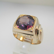 10k Yellow Gold Created Alexandrite Ring  Size 9 1/2