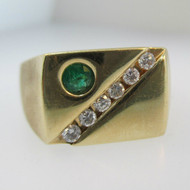 14k Yellow Gold Emerald Ring with Diamonds Size 12 3/4