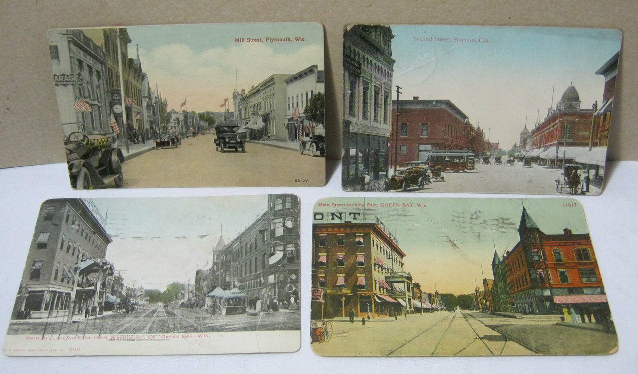 Downtown Plymouth Green Bay Wi Pomona Ca Old Postcards