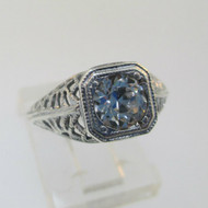 Sterling Silver Vintage Filigree Synthetic Diamond Ring Size 4.5