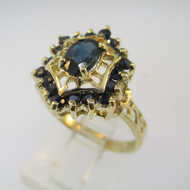 10k Yellow Gold Sapphire Ring with Filigree Accents Size 7