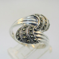Sterling Silver Marcasite Overlap Ring Size 9