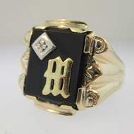 10k Yellow Gold with Black Onyx Ring with Diamond and M Signet Size 10 1/4