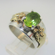 Sterling Silver and 14K Leaf Flower Peridot Ring Size 7